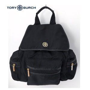 Tory Burch Nylon Drawstring Black Backpack